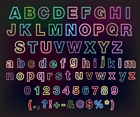 Neon glow alphabet set for your design Vector