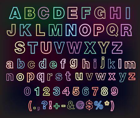 neon glow alphabet: Neon glow alphabet set for your design