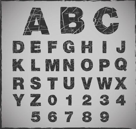 fragmented: broken alphabet with grunge texture set