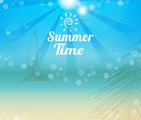sun beach: Summer time poster yach silhouette on tropical beach background