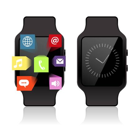 wristbands: Smart watch isolated with extrude icons Illustration