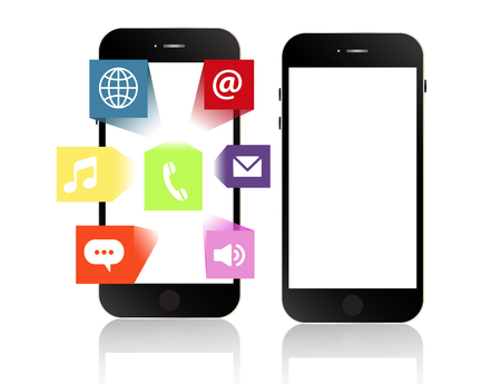 information median: Smartphone apps touchscreen smartphone with application software icons extruding from the screen isolated