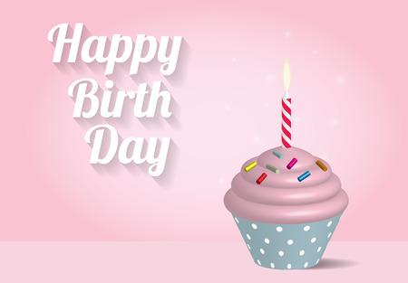 cupcake: Birthday cupcake illustration on pink background