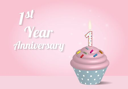 1 year: 1 year anniversary cupcake on pink background Vectores