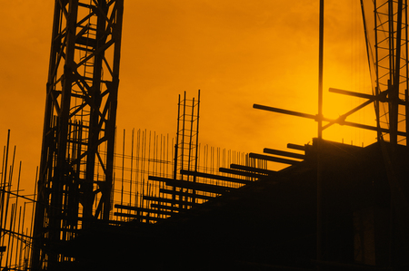 construct site: silhouette construct site background Stock Photo