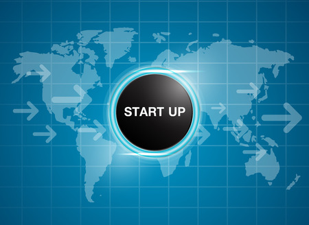 new opportunity: start up button on world map background business concept