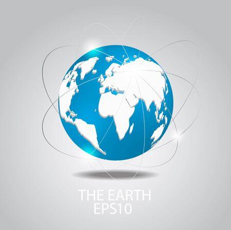 Globus-Symbol Planet earth auf grauem Hintergrund