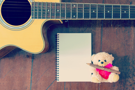 bear doll: cut bear doll with guitar filtered image