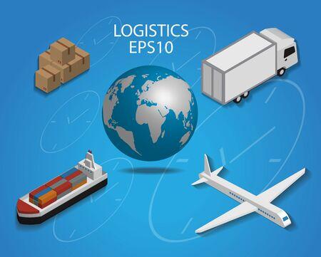 logistics: Logistics cargo delivery flat 3d isometric pixel art modern design