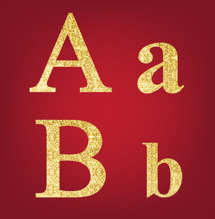 spangles: A B alphabet set  made up of gold spangles on the red background