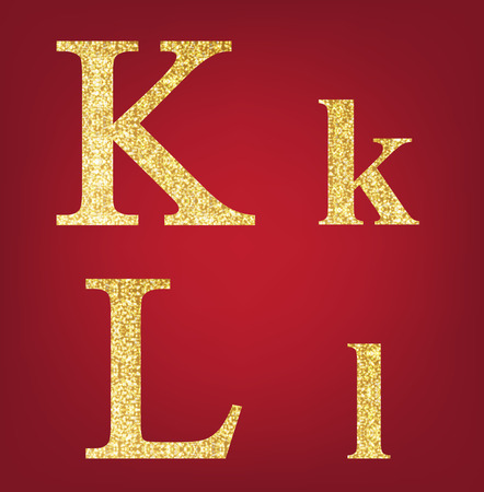 spangles: K L alphabet set  made up of gold spangles on the red background