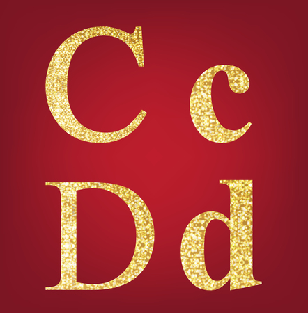 spangles: C D  alphabet set  made up of gold spangles on the red background