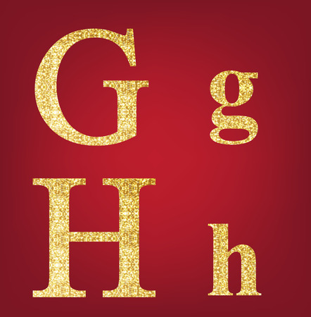 spangles: G H alphabet set  made up of gold spangles on the red background