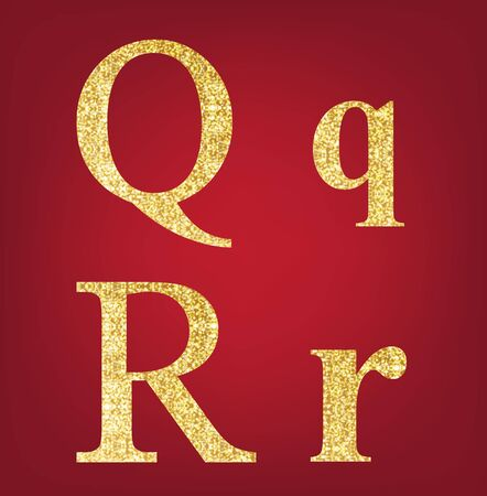 spangles: Q R alphabet set  made up of gold spangles on the red background