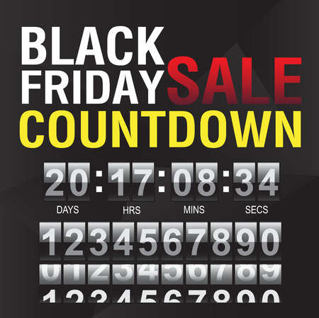 time remaining: Black Friday countdown timer template, Vector.