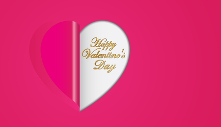 Rosa Papier Herzen Klapp Valentinstag Gru�karte Illustration