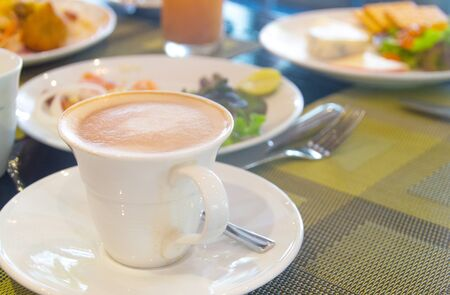 serv: coffee latte serv on breakfast Stock Photo