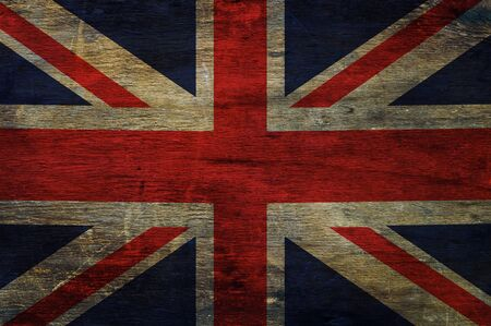 empirical: Great britain flag  on old wood background Stock Photo