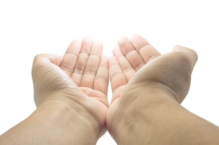 open empty pray hands isolated on the white background Stock Photo
