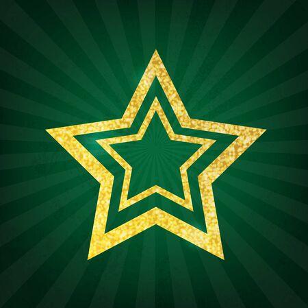 jewell: Gold glitter star on green grunge background