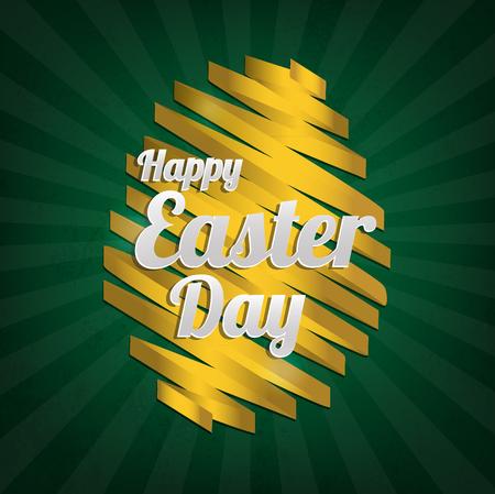 green grunge background: gold ribbon easter egg symbol on the green grunge background