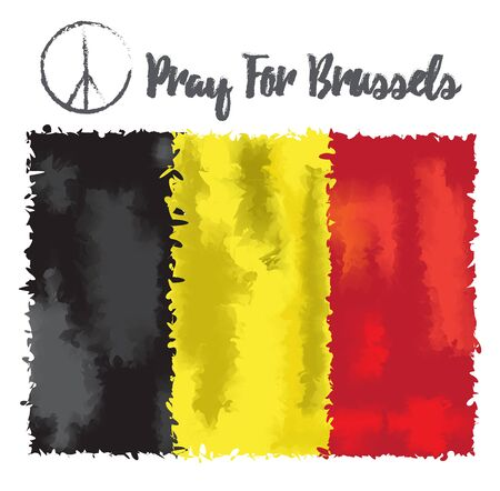 attacks: Vector illustration Pray for Belgium 22 March 2016. Tribute to the victims of terrorictic attacks in Brussel. On Belgium flag watercolor style backround