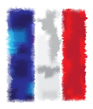 spangled: flag France watercolor style on the white background
