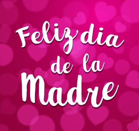 dia de la madre: Mothers Day vector greeting card. Hand drawn lettering title in Spanish. Pink  background.