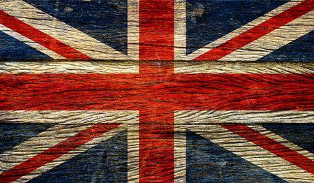 grunge union jack: Great britain flag  on old wood background retro effect image Stock Photo