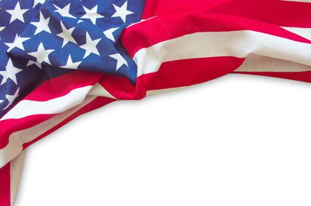 在白色背景隔绝的美国国旗边界