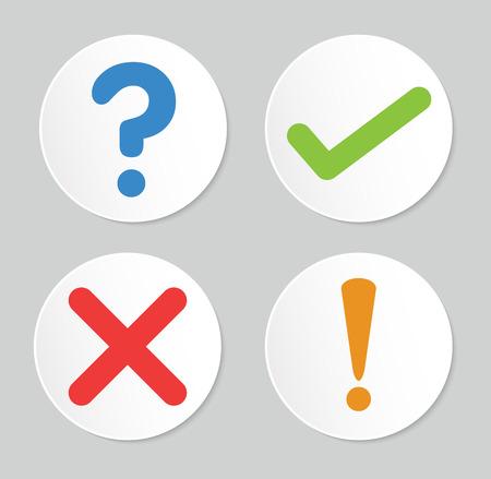 Een set van vier eenvoudige knoppen voor het web: vinkje, kruis teken, uitroepteken, vraagteken
