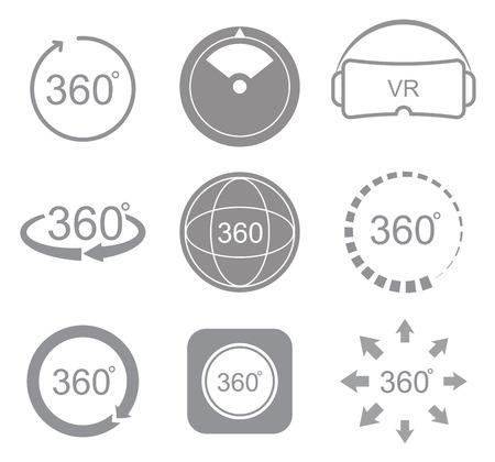 360 grados de visión de icono de la muestra en el fondo blanco