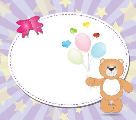 balloons teddy bear: teddy bear with balloons  on violet background illustration Illustration