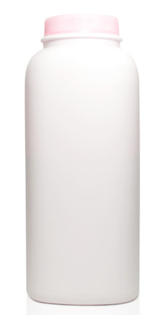 talcum: Plastic bottles of talcum powder on white background with clipping path
