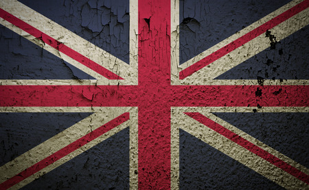 empirical: Great britain flag on old grunge wall background retro effect image