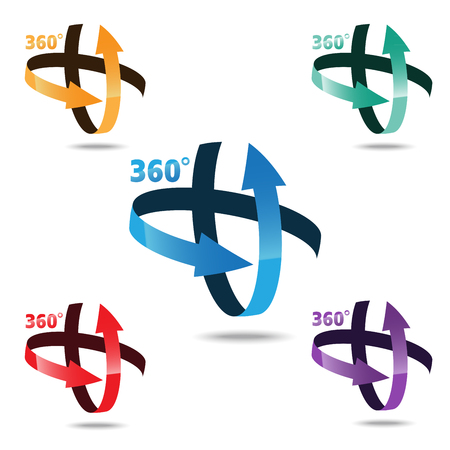 Angle 360 degrees sign icon, Geometry math symbol
