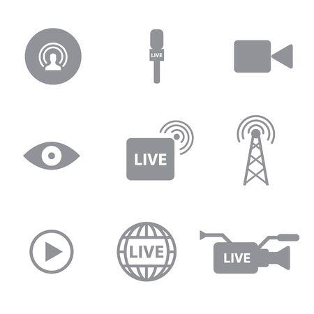 Ensemble de radiodiffusion Soi ou icônes de streaming notion sur fond blanc
