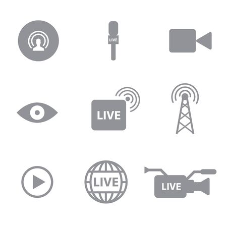 Set of Self broadcasting or live streaming icons concept on white background