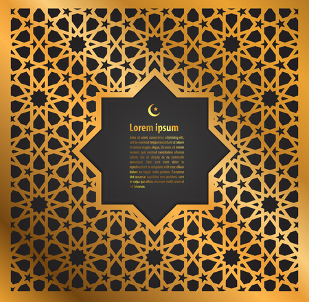 gold ornament ramadan kareem greeting card on islamic pattern background