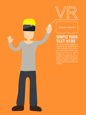 man headset: Man wear VR playing using vr headset. flat illustration. Illustration