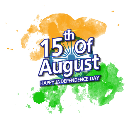 26th: Happy Indian Independence Day celebration on flag water color greeting card