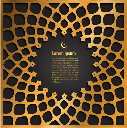 gold label ramadan kareem greeting card on islamic pattern background