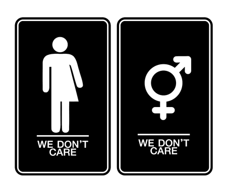 trans gender: All gender restroom sign. Male, female transgender Illustration