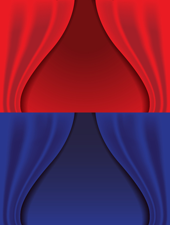 show window: red and blue curtains  isolated  background, vector illustration