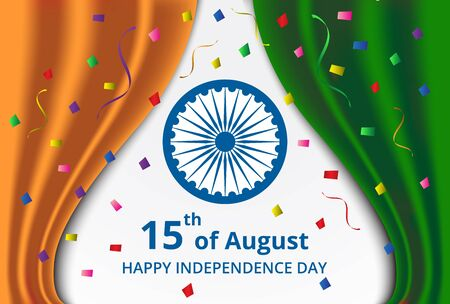 26th: Happy Indian Independence Day celebration on curtain color of india flag and confetti greeting card Illustration