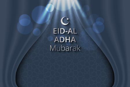 sacrifice: Ejemplo creativo de patrón de Islam en el fondo de la cortina abierta, Fiesta del Sacrificio, Eid-al-Adha Mubarak. Vectores