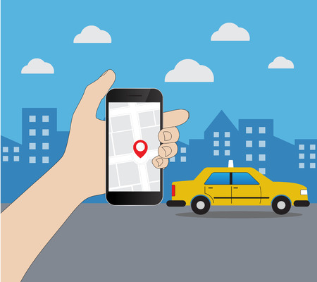 move controller: Phone with interface taxi on a screen on a background the city. Mobile app for booking service. Flat vector illustration