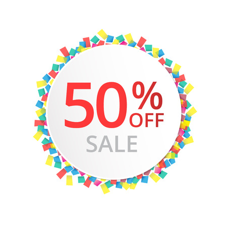50% sale discount sign with colour confetti. Vector paper illustration