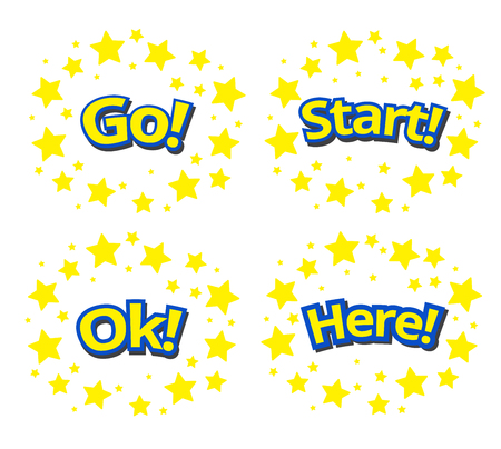 phrases: phrases written in a cartoon game style yellow color with blue stroke. Here, Go! Ok, Start, Fight surround with yellow star.