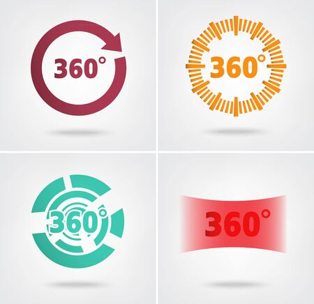 degrees: 360 degrees view sign colorful icons set